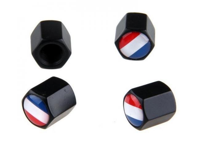 France Flag Stainless Steel Black 4Pcs/Set Car Wheel Tyre - 1/1