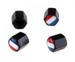 France Flag Stainless Steel Black 4Pcs/Set Car Wheel Tyre